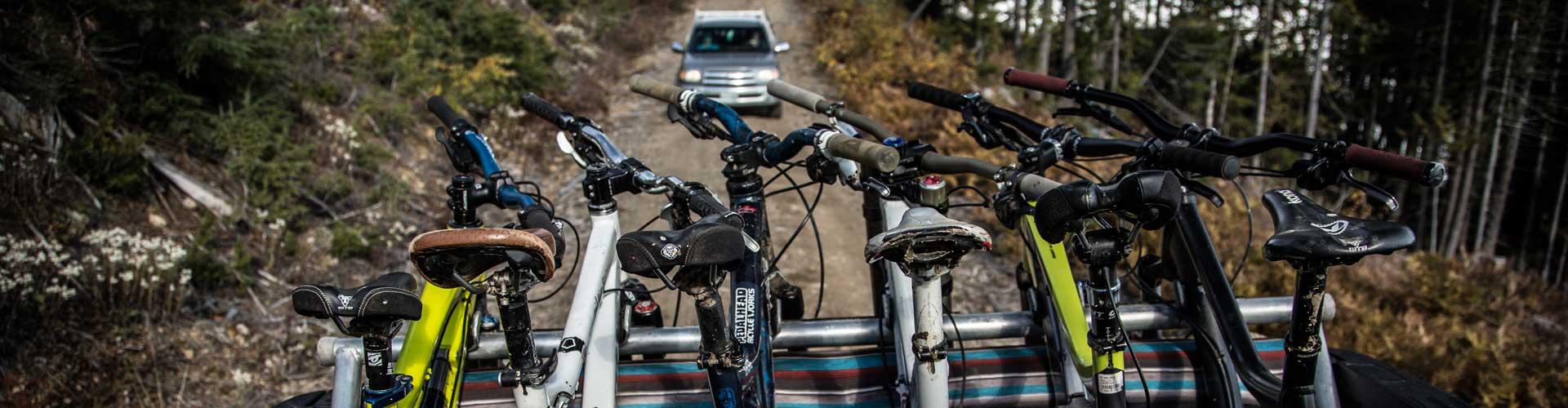 Shuttling loaded with mountain bikes